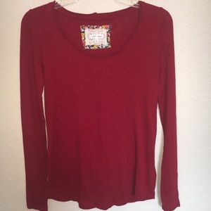 Anthropologie Pure & Good Red Cotton Tee XS